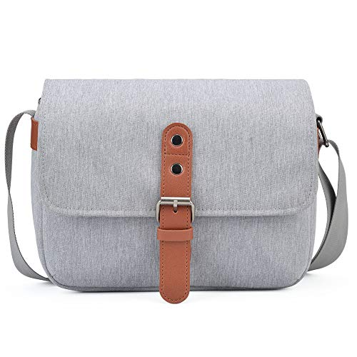 CADeN Compact Camera Shoulder Bag Case Compatible for Nikon, Canon, Sony SLR/DSLR Mirrorless Cameras and Lenses Waterproof Gray