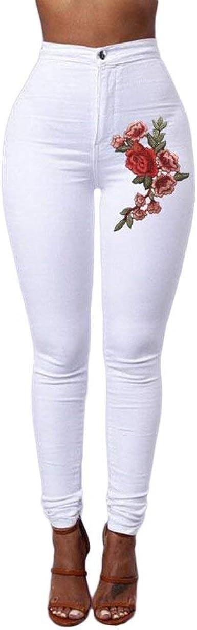 Pantalon Mujer Pantalones Lapiz Lapiz Otono Elegantes Pantalones De Tiempo Libre Cintura Alta Elasticos Rosa Bordado Skinny Especial Estilo Amazon Es Ropa Y Accesorios