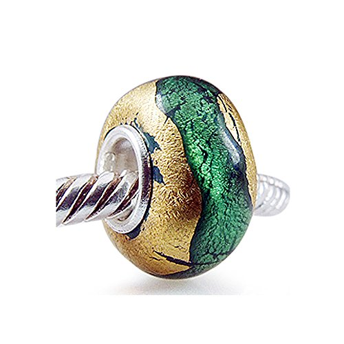 The Kiss Green Gold Foil Murano Glass Bead 925 Sterling Silver Solid Core Charm Fits European Bracelet