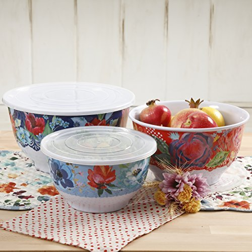 Pioneer Woman Melamine Serving Bowl Set with Lids (Set of 3 Bowls with 3 Lids) (Spring (Bouquet Set)