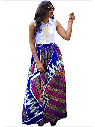 africana estampada acampanada l Falda para maxi casual Afibi una multisize mujer wnqUH6IH0x