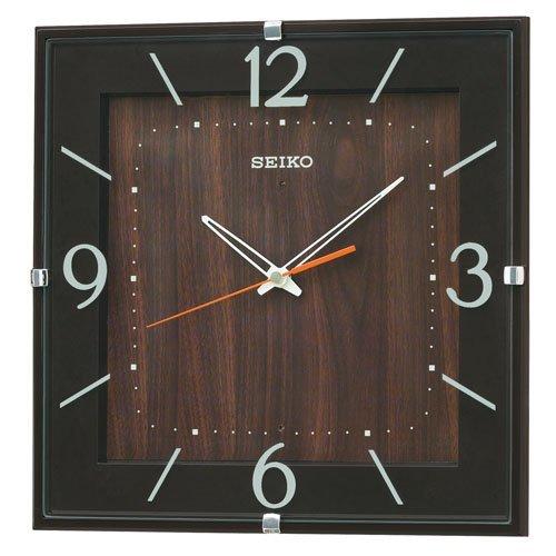 (セイコークロック) SEIKO CLOCK 電波壁掛け時計 KX398B ナチュラル スクェアタイプ 四角 濃茶 木目 アナログ B00QWQ4OKS