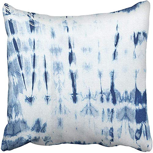 Throw Pillow Covers Cases Decorative 18x18 Inch Abstract Batik Tie Dyed Indigo Color on White Cotton Hand Dye Fabrics Shibori Two Sides Print Pillowcase Case Cushion - Hand Dyed Fabric Batik