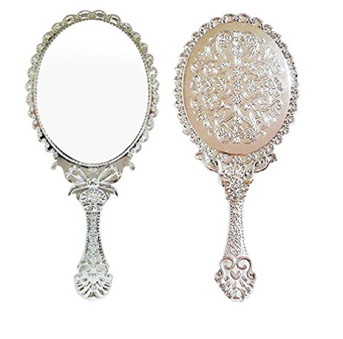 Ohraina Decorative Vintage Style Rose Embossed Oval Silver Tarnish Free Hand Held Vanity Mirror (Silver) (Silver Rose Vintage)
