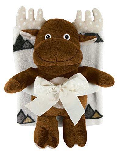 Stephan Baby Snuggle Fleece Crib Blanket and Plush Toy Set, Brown Moose -  120366