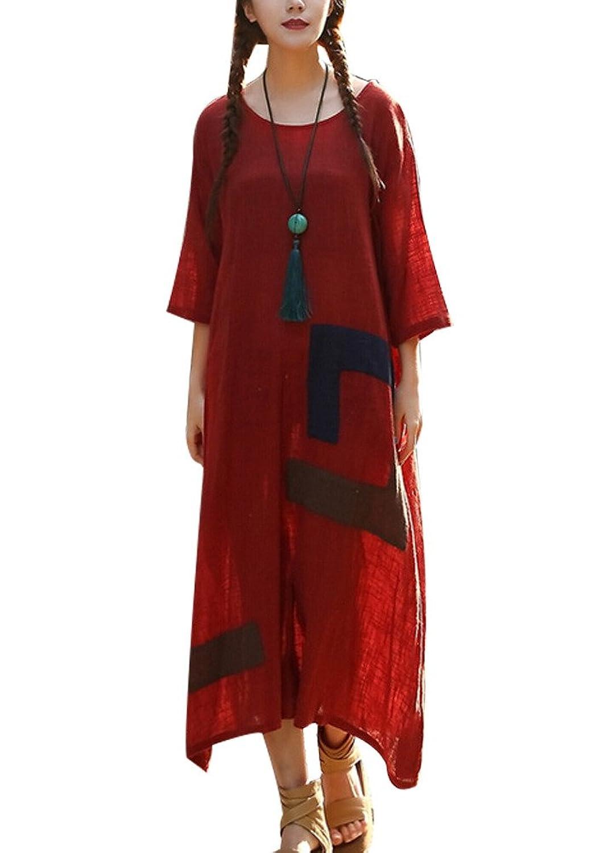 MatchLife Damen 3/4-Arm Freizeitkleider Gedruckt Kleider