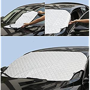 Moyishi Universal Car Windshield Snow Cover & Sun Shade Protector with Cotton Thicker Car Protection Cover (S 36''x56'')