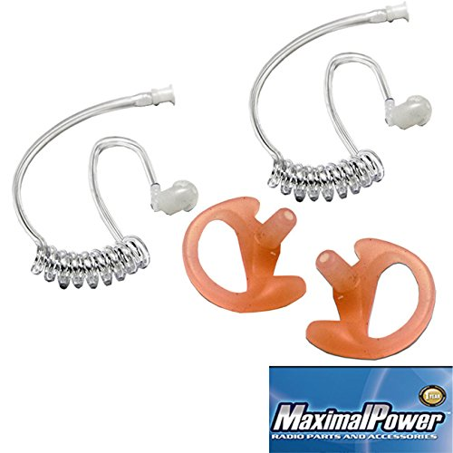 (LEFT & RIGHT) - Medium Replacement Earmold Earbud Plus (PACK of 2) - Twist On Replacement Acoustic Tube for 2-Way Radio Headsets by MaximalPower