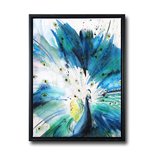 (Wall Art for Living Room-Teal Canvas Print Picture 'Peacock Spread Its Wings' Artwork with 1.4'' Thick Black Floater Frame Ready to Hang for Home Bedroom Decor 16X24)