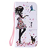 SZYT Phone Case for Apple iPod Touch 5th & iPod Touch 6th Generation, 4.0 inch, PU Leather Flip Cover with Handle, Floral Skirt Girl Black Cat