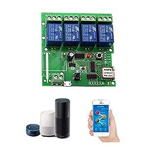 OWSOO Módulo Relé WiFi,Interruttore Intelligente WiFi, Universale Modulo 4ch DC 5V,App Telecomando,Controllo Vocale… 1 spesavip