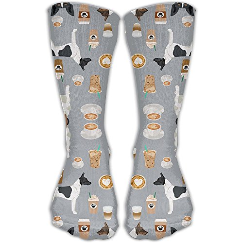 Rat Terriers In Costumes (Rat Terrier Dog Coffee Pattern Long Socks For Men & Women- Best For Running,Athletic,Medical,Pregnancy And Travel)