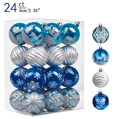Valery Madelyn 24ct 60mm Winter Wishes Silver Blue Shatterproof Christmas Ball Ornaments Decoration for Christmas Tree (Christmas Tree Gold Silver Blue)