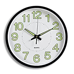 Jeteven 12'' Luminous Wall Clock Night Light Function Clock Quartz Wall Clock for Indoor/ Outdoor Living Room Bedroom Kitchen Decor Battery Operated