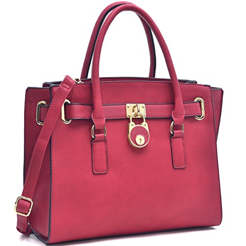 Dasein Handbags for Women Large Tote Purse Padlock Satchel Handbag Briefcase ()