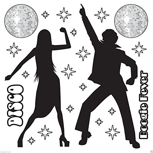 1970s Party Decoration Funky DISCO SILHOUETTE Saturday Night Fever Wall PROPS -