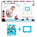 Baby-Blanket-Monthly-Milestone-for-Boys-with-Sea-Theme-Soft-Wearable-Fleece-Photography-Baby-Shower-Gift-Bonus-2-Photo-Frames