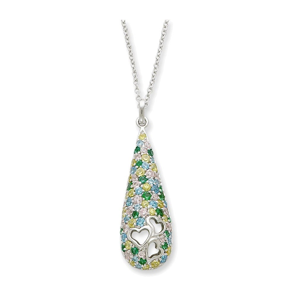 Sterling Silver CZ Cheerdrops 18in Necklace