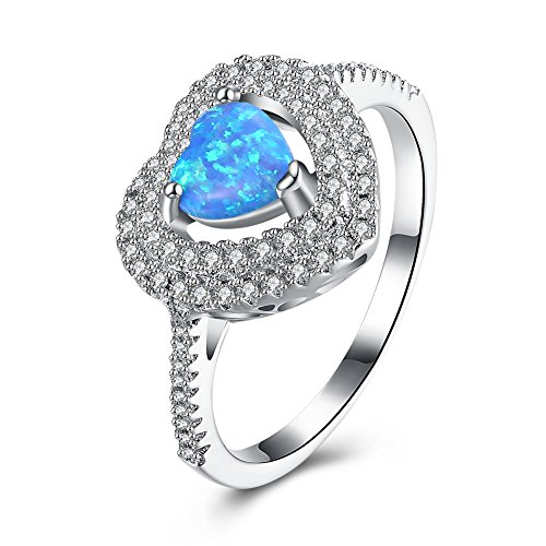 """Mrsrui Fire Opal Heart Wedding Engagement Ring """"Best Wish"""" 18ct Gold Plated For Women Girl by Mrsrui"""