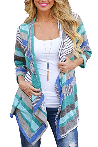 Women's 3/4 Sleeve Cardigans Striped Printed Open Front Knit Draped Kimono Loose Cardigan Blue L