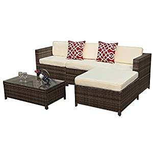Outdoor-5-Piece-Patio-Wicker-Rattan-Sectional-Furniture-Set