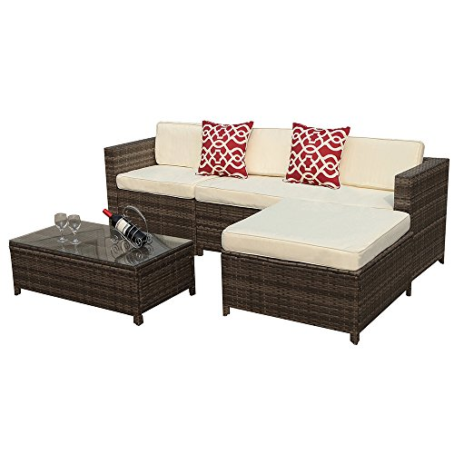 Outdoor Patio Furniture set, 5pc PE Wicker Rattan Sectional Furniture Set with Cream White Seat and Back Cushions, Steel Frame, Red Throw Pillows,Gray (Furniture Steel Patio)