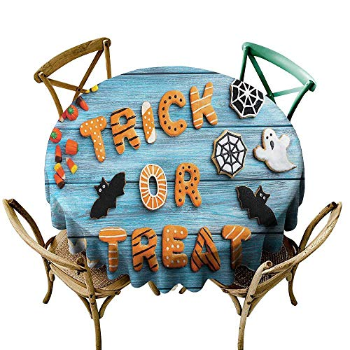 (Camping Tablecloth 48 inch Vintage Halloween,Trick or Treat Cookie Wooden Table Ghost Bat Web Halloween,Blue Amber Multicolor Indoor/Outdoor Spillproof Table)