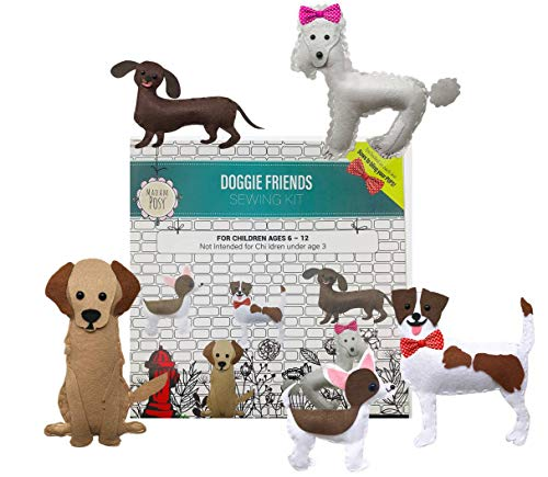 (Madam Posy Design Pet Dog Animal Sewing Puppy Craft Kit for Kids: Golden Retriever, Dachshund, Poodle, Jack Russell Terrier, and Chihuahua Gift Crafts for Dog Lover Girls Gifts Ages)