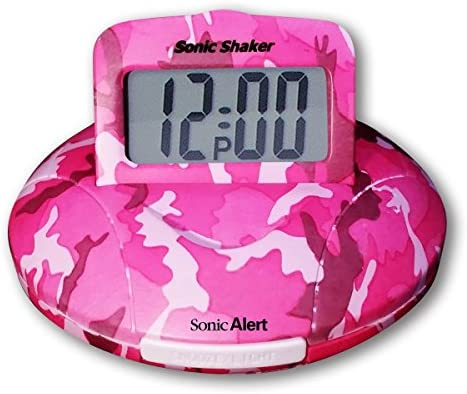 Sonic Alert Sonic Shaker Pink Camo Travel Alarm Clock SBP100C