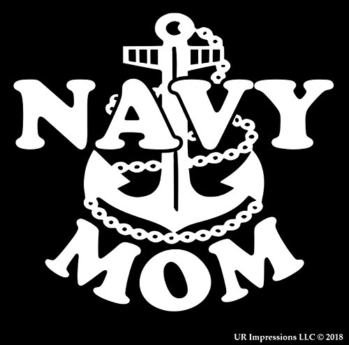 Navy Mom Decal Vinyl Sticker|UR Impressions|Cars Trucks SUV Van Walls Laptop|WHITE|5.5 Inch|URI332