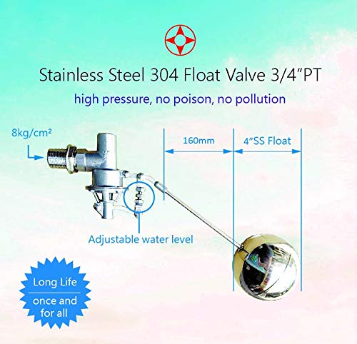 Tank Mount Adjusted Angle 3//4 PT Male Balanced 304 Stainless Steel High Pressure Float Ball Valve