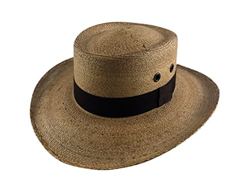 Panama Gambler Hat - Palmoro The Original Golf Gambler Moreno Palm Straw Sun Hat (2XL, Cafe w/Brown Band)