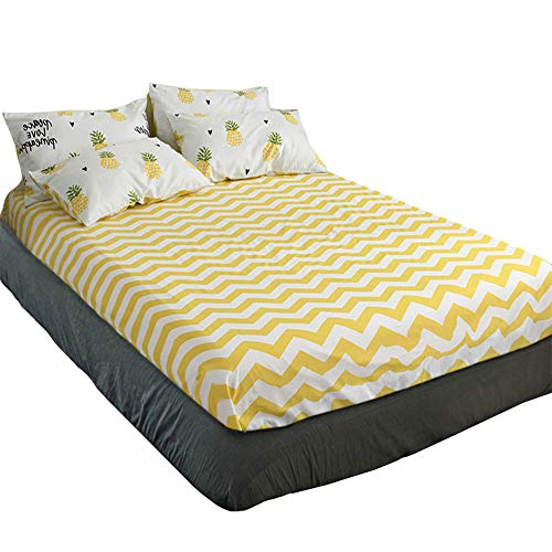 EnjoyBridal Pineapple Print Pattern Fitted Sheet Twin,Premium Cotton Super Soft Bed Sheet Twin for All Reason,Anti-Wrinkle Fade Resistant Fitted Sheet Twin for Kids Boys Girls (Twin, Yellow)