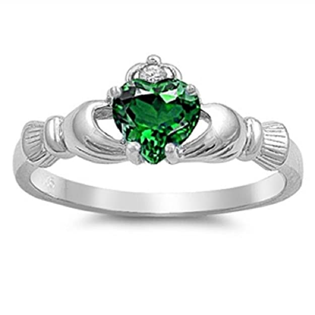 PROMISE LOVE HEART Sapphie /& CZ Heart .925 Sterling Silver Ring Sizes 5-12