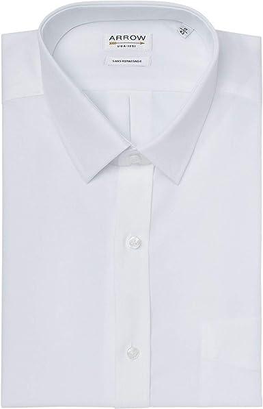 Arrow - Camisa de confort sin planchar, color blanco blanco ...