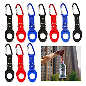 BmStar Portable Silicone Water Bottle Buckle Hook Holder Bottle Convenient Carrying Clip With D-Ring Hook For Camping Hiking Traveling With Emergency Aluminum Whistle, 10 Pcs