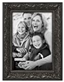 Malden International Designs Classic Ornate Black Wood Picture Frame, 5x7, Black