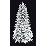 Christmas tree/Flocked Christmas tree/Snowy Forest Spruce the Pre-lit PE Feel real Flocked Narrow Slim Artificial Christmas tree (Un-lit, 6')