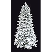 Snowy Forest Spruce PE Feel real Artificial Pre-lit Flocked Christmas tree (Pre-lit, 5')