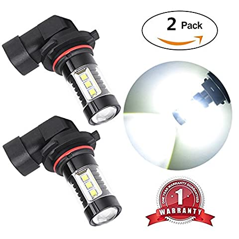 FlashWolves Extremely Bright Max 80W High Power 9145 9140 H10 LED Bulbs with projector for DRL or Fog Lights, Xenon White 6000K (Pack of - 9145 Bulb