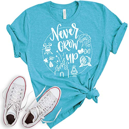 Never Grow Up Shirt | Women's Shirt | Unisex Shirt | Cute Shirt for Vacation (X-Large, Heather -