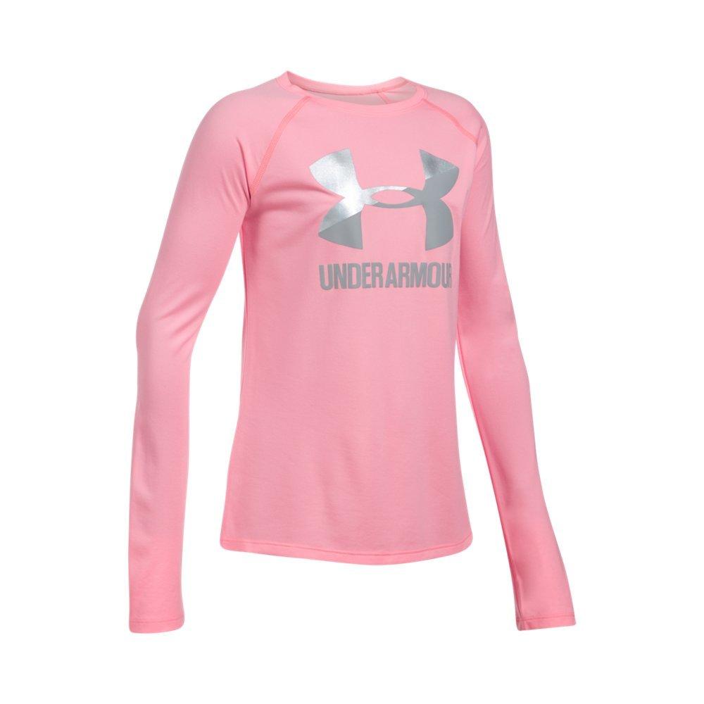 Under Armour Girls' Big Logo Slash Long Sleeve,Pop Pink (979)/Overcast Gray, Youth Large