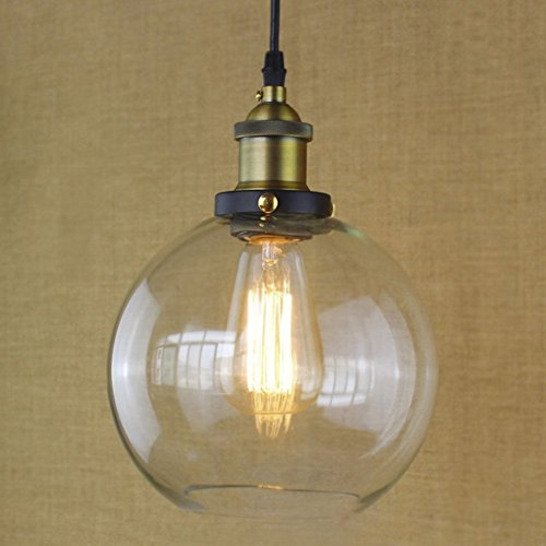 Ball Pendant Lamp (Lingkai Pendant Lights Vintage Style Hardwire Industrial Pendant Lamp Celling Lights Oil Rubbed Bronze Lighting Edison Simplicity Lamp with Clear Glass Shade E26 E27 Brass Scoket (Ball 1))