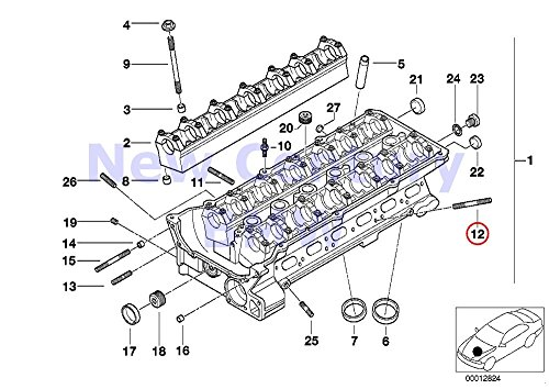 8 X BMW Genuine Cylinder Head Intake Manifold System Stud Bolt M7X55 318i 318is 525i M5 3.6 318i 318is 318ti 320i 323i 325i 325is 328i M3 M3 3.2 525i 528i ()