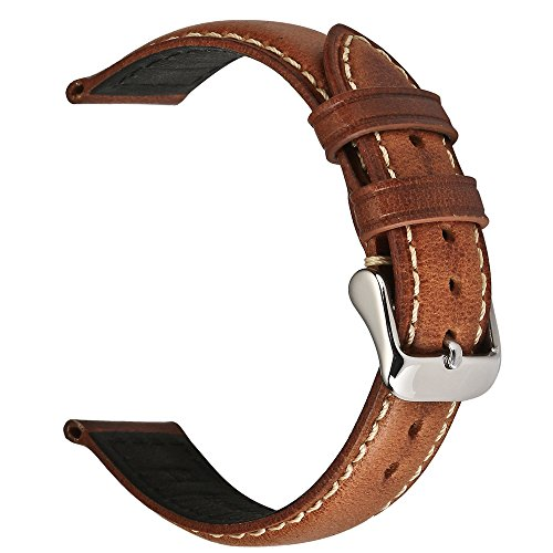 18mm Brown Leather Bands Strap - EACHE 18mm Genuine Leather Watch Band Light Brown Oil-tanned Natural Crack Leather Wrist Straps with Silver Buckle