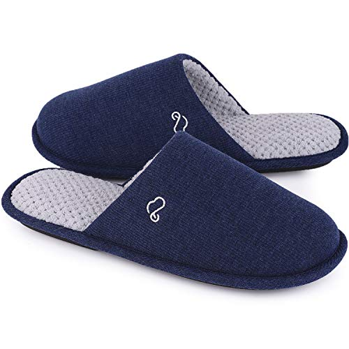 Men's Cotton Knit Memory Foam Slippers Light Weight House Shoes with Anti-Skid Sole (9-10 M US, Navy -