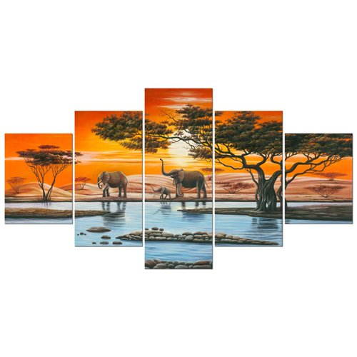Wieco Art Elephant Family Large Modern 5 Piece Gallery Wrapped African Landscape Giclee Canvas Prints Artwork Animals Paintings Reproduction Pictures on Canvas Wall Art for Bedroom Home Decor L (Deco Art Canvas Print)