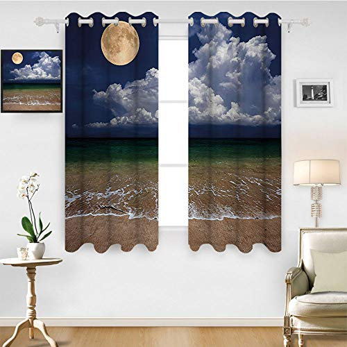 SATVSHOP Home Decor Kitchen Curtains Blackout Two Panels- 72W x 84L Inch- Nature Night Sky Big Full Moon and Fluffy Clouds Over The Ocean Wav Sandy Beach Seashore]()