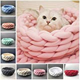 OUYAJI Soft Round Braid pet Bed for cat and Dog Chunky Knitted Knitting Hand-Woven Machine Washable pink2