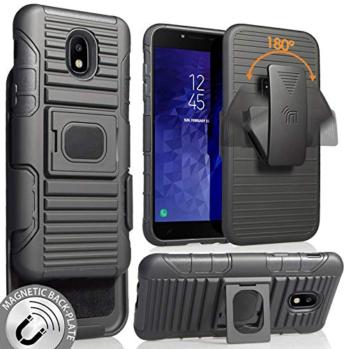 Galaxy J3 Achieve/Star/J3V/2018 Case with Clip, Nakedcellphone Black Ring Grip Cover + Belt Hip Holster Stand [with Built-in Mounting Plate] for Samsung Galaxy J3 Achieve, J3 Star, J3 V (2018) from Nakedcellphone